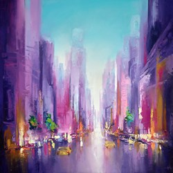 In The City II by Anna Gammans - Original Painting on Stretched Canvas sized 39x39 inches. Available from Whitewall Galleries